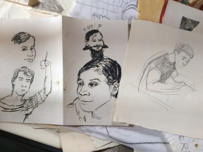 From left to right, me of 35 uears ago, Marsha of 35 years ago voth drawn by John of 35 years ago, followed by John of 35 uears a drawn by me of 35 years ago.